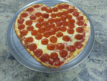 Large size Pepperoni Pizza in the shape of Hearth
