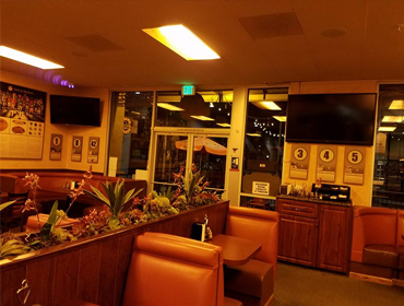 Inside view of our Huntington Beach restaurant, facing front door