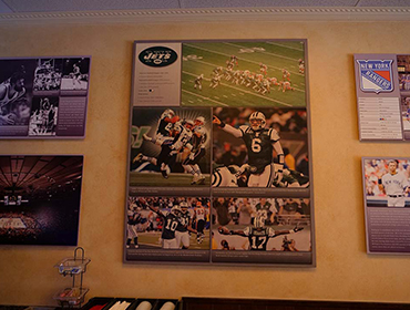 Picture of famous Football players hung on the wall
