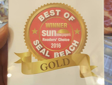 GOLD certificate of recognition presented to our Seal Beach restaurant by Sun Newspaper