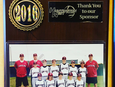 2016 Plaque award from local kids baseball Huntington West Little league major gamecocks 2017 recognized as winner and sponsered by our Huntington Beach restaurant