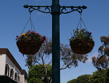 Our town of Seal Beach with the outdoor hanging planters