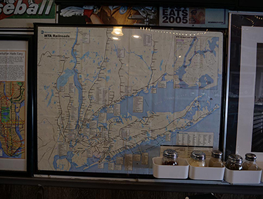 Map of MTA RailRoad hanging from the wall at our Seal Beach restaurant
